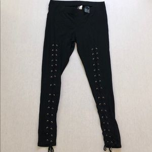 Lace up black legging